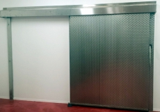Tiefkühlraumschiebetür in CNS Edelstahl 1,30m x 2,10m